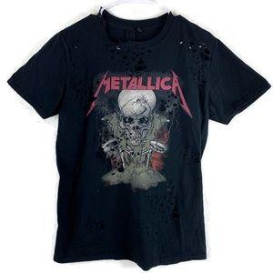 Metallica TopShop Factory Distressed Band T-shirt